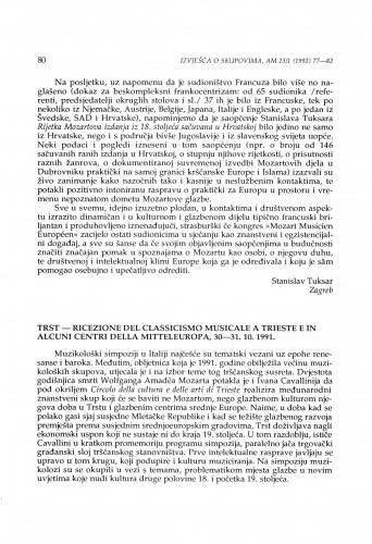 Ricezione del Classicismo musicale a Trieste e in alcuni centri della Mitteleuropa, Trst, 30-31. 10. 1991.