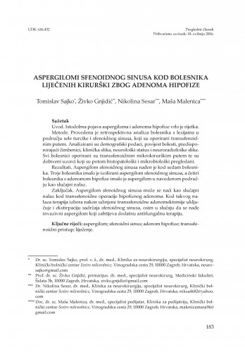 Aspergilomi sfenoidnog sinusa kod bolesnika liječenih kirurški zbog adenoma hipofize