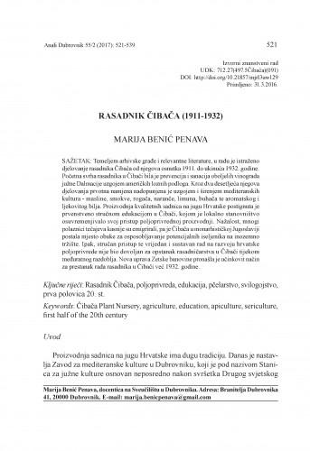 Rasadnik Čibača (1911-1932) / Marija Benić Penava