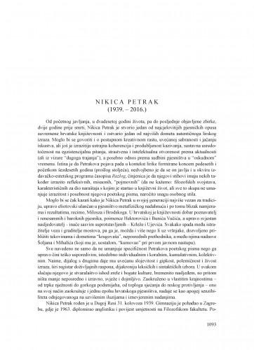 Nikica Petrak (1939.-2016.) : [nekrolog]