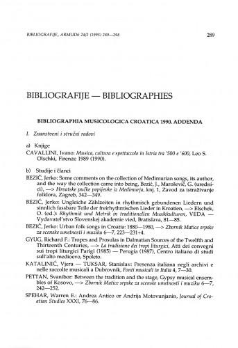 Bibliographia musicologica Croatica: Addenda 1990 & 1991