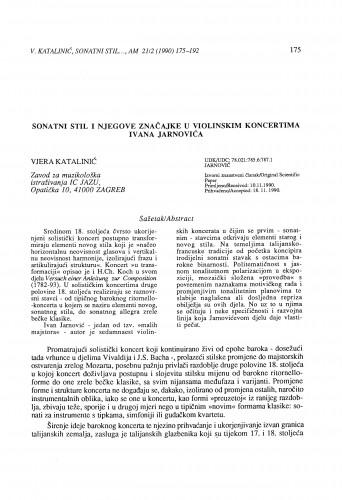 Sonatni stil i njegove značajke u violinskim koncertima Ivana Jarnovića