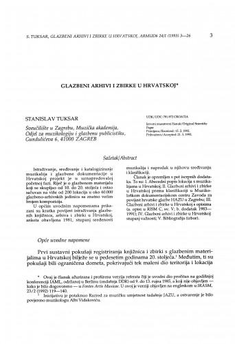 Glazbeni arhivi i zbirke u Hrvatskoj