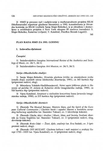Plan rada HMD za 1993. godinu