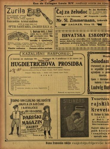 Hugdietrichova prosidba Operetna priča u tri čina  =  Hugdietrichs Brautfahrt