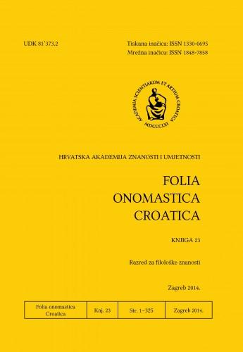 Knj. 23 (2014) : Folia onomastica Croatica