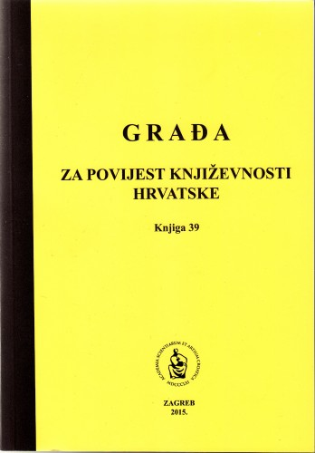 Knj. 39(2015) : Korespondencija Ante Tresića-Pavičića : Građa za povijest književnosti hrvatske