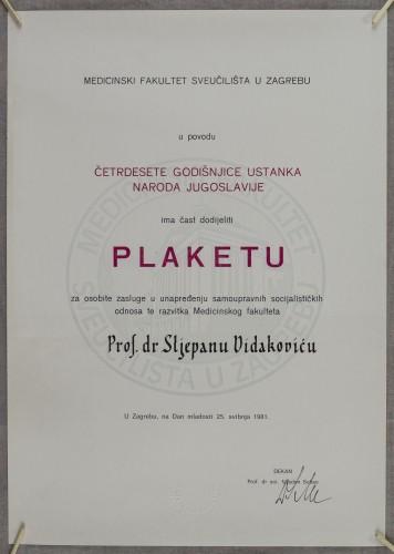 Priznanje prof. dr. Stjepanu Vidakoviću za osobite zasluge