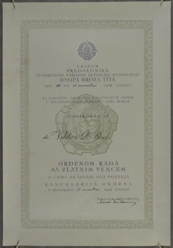 Odlikovanje dr. Viktora Boića ordenom rada sa zlatnim vijencem