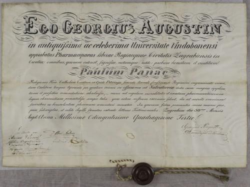 Tirocinijska diploma Pavla Panca