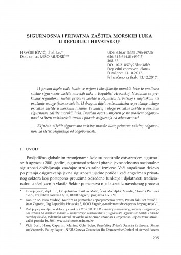 Sigurnosna i privatna zaštita morskih luka u Republici Hrvatskoj / Hrvoje Jović, Mišo Mudrić