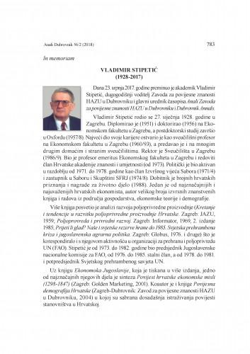 In memoriam Vladimir Stipetić (1928-2017) : [prikaz] / Nenad Vekarić