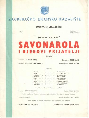 Savonarola i njegovi prijatelji Drama