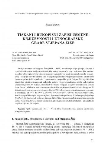 Tiskani i rukopisni zapisi usmene književnosti i etnografske građe Stjepana Žiže