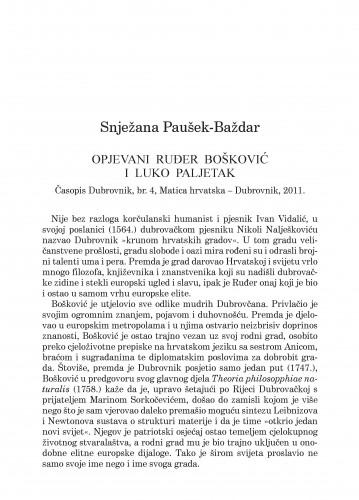 Opjevani Ruđer Bošković i Luko Paljetak : Časopis Dubrovnik, br. 4, Matica hrvatska-Dubrovnik, 2011.