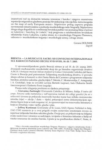 Brescia - La musica e il sacro. XII convegno internazionale sul Barocco padano (secoli XVII-XVIII), 18.-20. 7. 2005. : [izvješće]