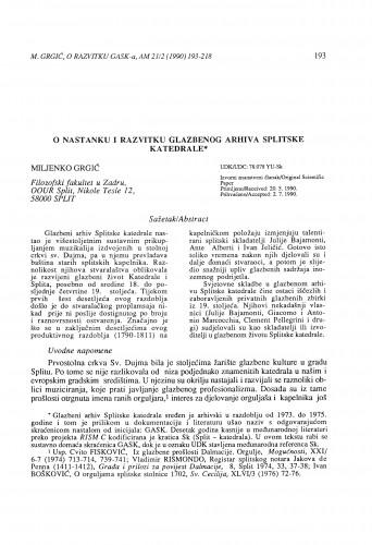 O nastanku i razvitku glazbenog arhiva Splitske katedrale