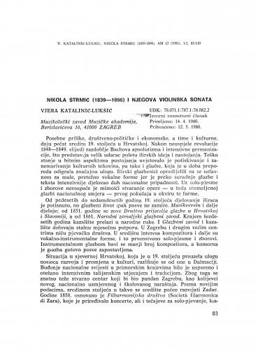 Nikola Strmić (1839-1869) i njegova violinska sonata