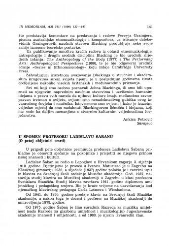 U spomen profesoru Ladislavu Šabanu (O petoj obljetnici smrti)