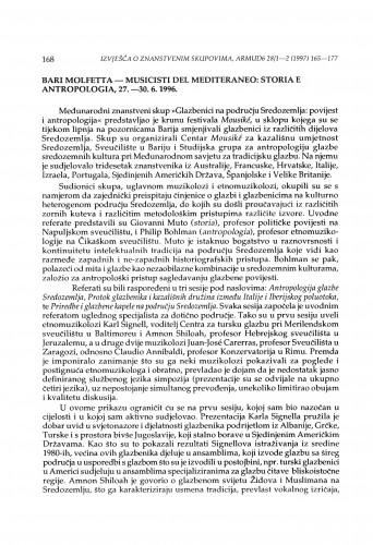 Musicisti del Mediteraneo: Storia e Antropologia, Bari Molfetta, 27.-30. 6. 1996.