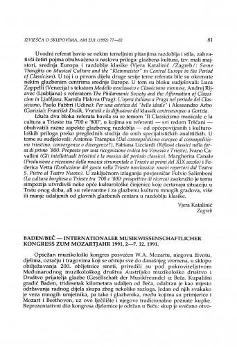 Internationaler musikwissenschaftlicher Kongress zum Mozartjahr 1991, Baden/Beč, 2-7. 12. 1991.