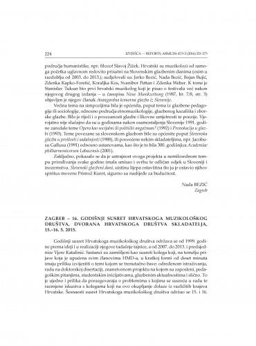 Zagreb - 16. godišnji susret Hrvatskog muzikološkog društva, Dvorana Hrvatskoga društva skladatelja, 15.-16. 5. 2015. : [izvješće]