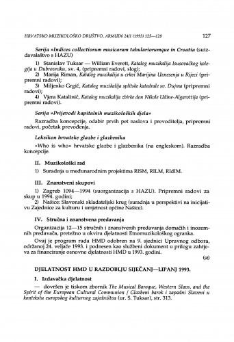 Djelatnost HMD u razdoblju siječanj-lipanj 1993.