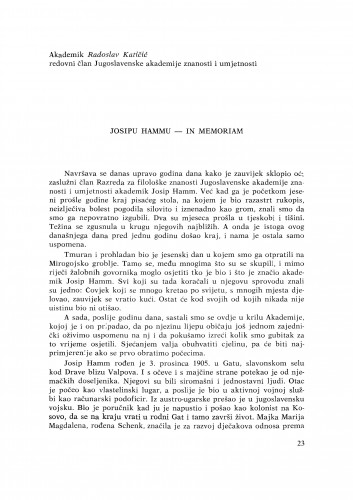 Josipu Hammu - in memoriam