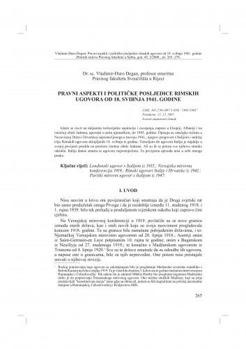 Pravni aspekti i političke posljedice rimskih ugovora od 18. svibnja 1941. godine : Vladimir Đuro Degan - zbirka knjiga i članaka