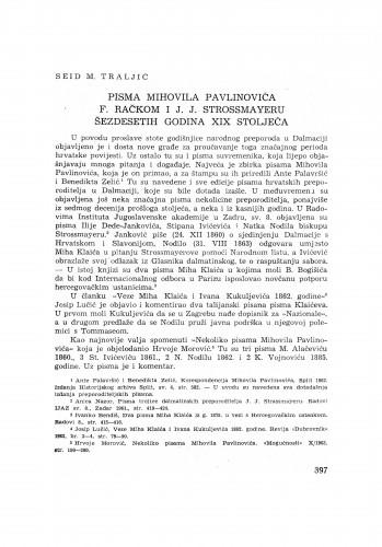 Pisma Mihovila Pavlinovića F. Račkom i J. J. Strossmayeru šezdesetih godina XIX. stoljeća