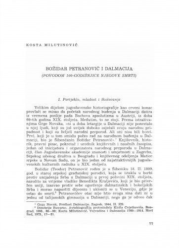 Božidar Petranović i Dalmacija : (povodom 100-godišnjice njegove smrti)