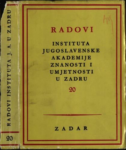 Sv. 20(1973) : Radovi Instituta Jugoslavenske akademije znanosti i umjetnosti u Zadru