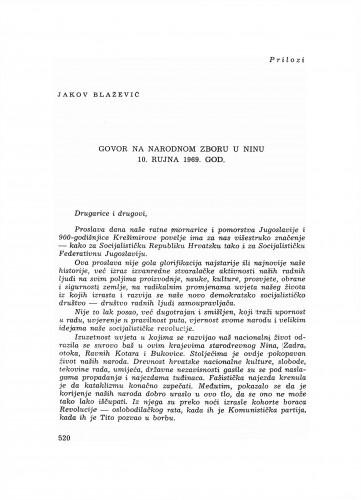 Govor na narodnom zboru u Ninu 10. rujna 1969. godine