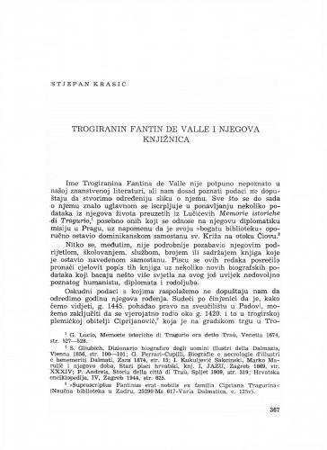 Trogiranin Fantin de Valle i njegova knjižnica
