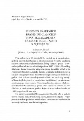 U spomen akademiku Branimiru Glavičiću Hrvatska akademija znanosti i umjetnosti 24. siječnja 2011. : Branimir Glavičić (Našice, 12. svibnja 1926.-Zadar, 10. siječnja 2010.
