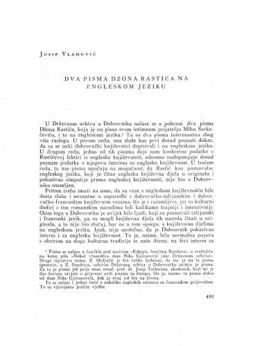 Dva pisma Džona Rastića na engleskom jeziku