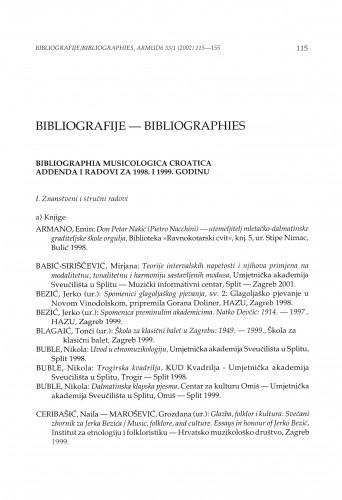 Bibliographia musicologica Croatica. Addenda i radovi za 1998. i 1999. godinu
