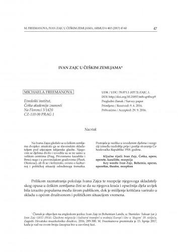 Ivan Zajc u češkim zemljama / Michaela Freemanova