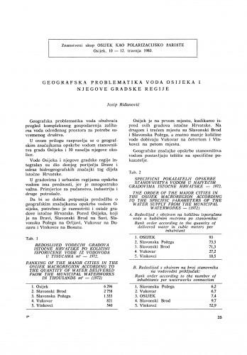 Geografska problematika voda Osijeka i njegove gradske regije