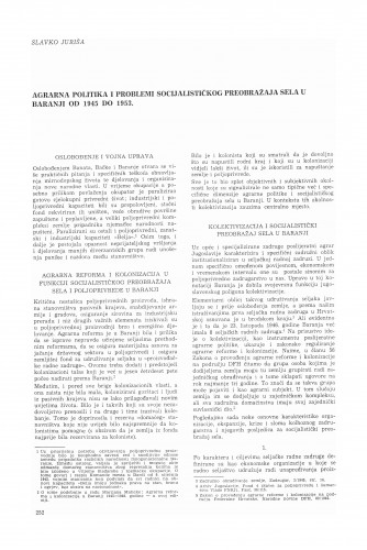 Agrarna politika i problemi socijalističkog preobražaja sela u Baranji od 1945-1953.