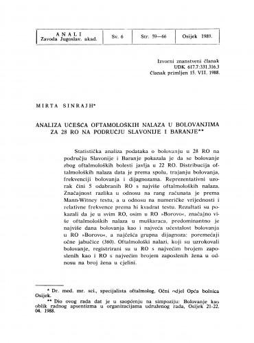 Analiza učešća oftamoloških nalaza u bolovanjima za 28 RO na području Slavonije i Baranje