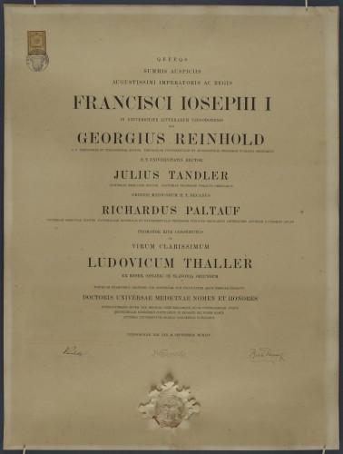 Diploma doktora medicine Luje Thallera