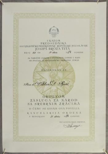 Povelja ordena zasluga za narod sa srebrnim zracima dr. Viktoru Boiću