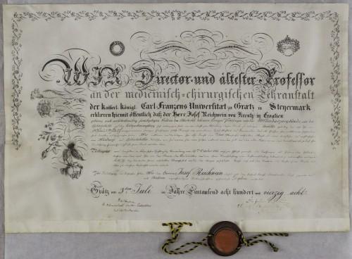 Diploma liječnika Josefa Reichweina