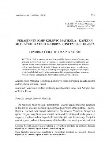 Peraštanin Josip Kolović Matikola - kapetan mletačkih ratnih brodova koncem 18. stoljeća : Anali Zavoda za povijesne znanosti Hrvatske akademije znanosti i umjetnosti u Dubrovniku
