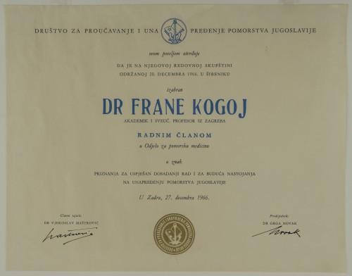 Povelja radnoga člana Odjela za pomorsku medicinu dr. Frane Kogoja
