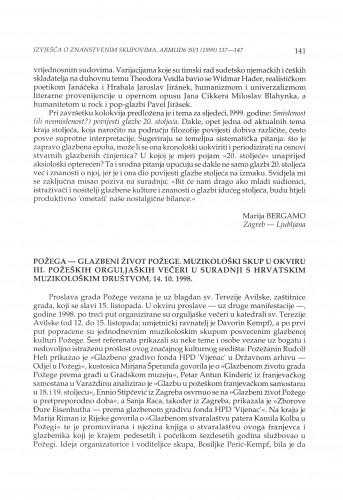 Glazbeni život Požege : muzikološki skup u okviru III. požeških orguljaških večeri u suradnji s Hrvatskim muzikološkim društvom, Požega, 14.10.1998.