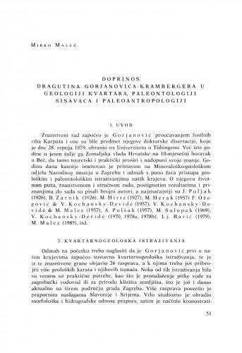 Doprinos Dragutina Gorjanovića-Krambergera u geologiji kvartara, paleontologiji sisavaca i paleoantropologiji