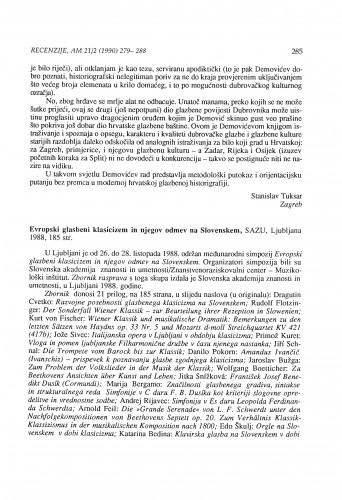 Evropski glasbeni klasicizem in njegov odmev na Slovenskem, Ljubljana 1988