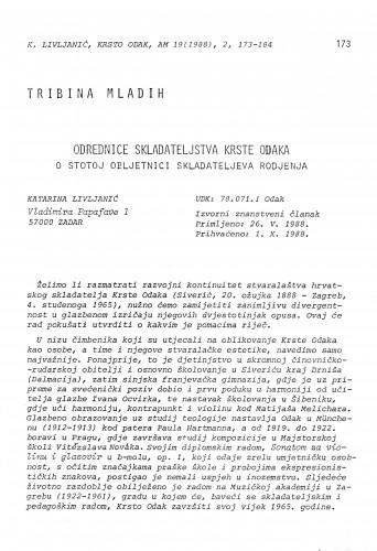 Odrednice skladateljstva Krste Odaka. O stotoj obljetnici skladateljeva rodjenja